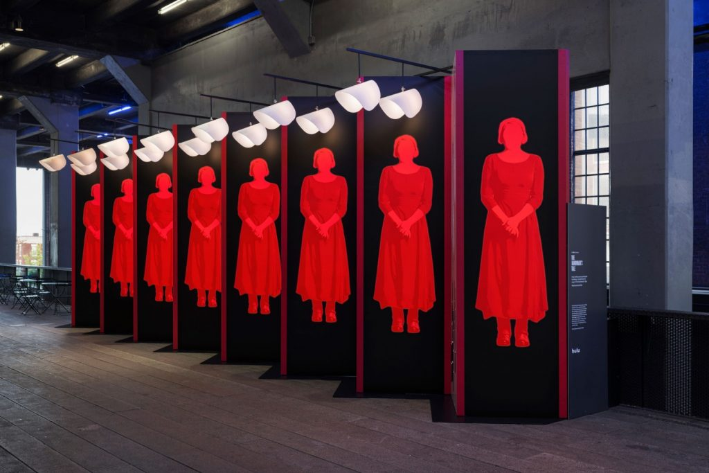 The Handmaids Tale interactive public display in NYC 2017 designed by Rory Simms at Pentagram